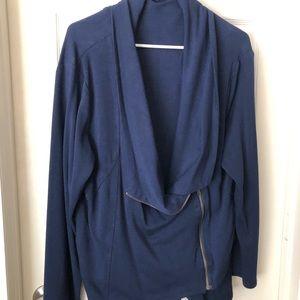 Beautiful thick blue zipper wrap blazer